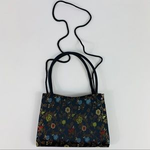 Handbags - Black Floral Double Handles Crossbody Mini Purse